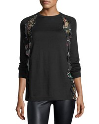 Red Valentino Wool Sweater W Floral Print Ruffle Black