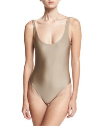 Marie France Van Damme Classic Solid One Piece Swimsuit Nude