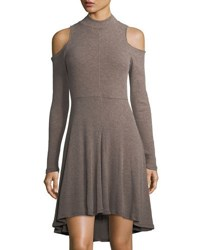Matty M High Low Cold Shoulder Knit Dress Cocoa