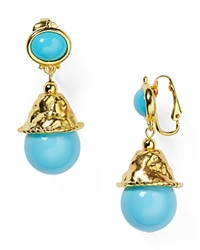 Kenneth Jay Lane Beaded Drop Clip On Earrings Turquoise