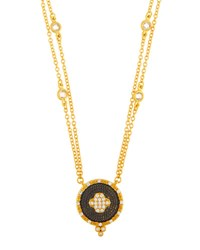 Freida Rothman Double Strand Pave Clover Pendant Necklace