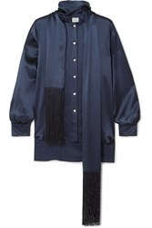 Hillier Bartley Fringed Silk Satin Shirt Navy