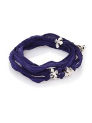 King Baby Studio Sterling Silver And Silk X Wrap Bracelet Indigo