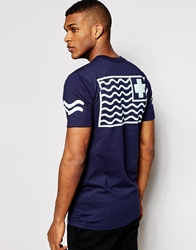Pink Dolphin Vibes T Shirt With Back Print Navy