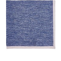 Fairfax Men's Bordered Slub Weave Linen Pocket Square Blue Grey Blue Grey