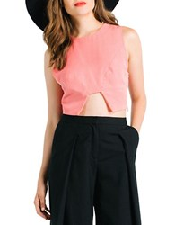Kendall Kylie Seamed Cutout Crop Top Rose