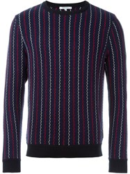 Carven Woven Striped Sweater Blue