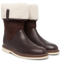 Loro Piana Snow Walk Shearling Lined Leather And Suede Boots Brown
