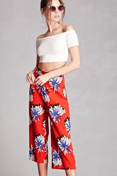Forever 21 Pixie And Diamond Abstract Culottes Red White