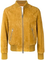 Ami Alexandre Mattiussi Zipped Suede Jacket With Ribbed Waist And Yellow
