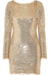 Rachel Zoe Racko Open Back Sequined Cady Mini Dress Gold