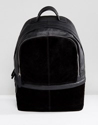 Asos Backpack In Black Suede And Leather Black