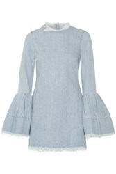 Marques' Almeida Frayed Denim Mini Dress Light Denim