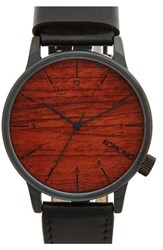 Men's Komono 'Winston' Round Dial Leather Strap Watch 41Mm Black Wood
