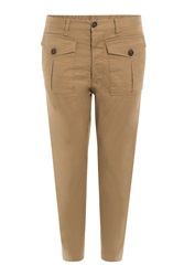 Dsquared2 Cropped Cotton Cargo Pants Beige