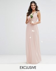 Tfnc Wedding Wrap Front Maxi Dress With Embellishment Peach Blush Pink