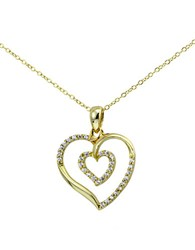 Lord And Taylor Sterling Silver Cubic Zirconia Heart Pendant Necklace Gold