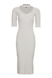 Topshop Stripe Midi Bodycon Dress White