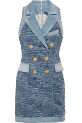 Balmain Denim Trimmed Tweed Mini Dress Blue