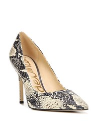 Sam Edelman Hazel Snakeskin Embossed Leather Pumps Black White