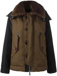 Dsquared2 Contrast Panel Bomber Jacket Brown