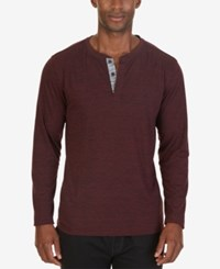 Nautica Men's Henley Sleep Shirt Burgundy