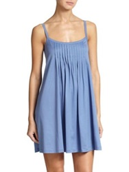 Hanro Juliet Cotton Pleated Babydoll Gown Buttercup Blue Shadow