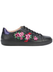 Gucci Floral Embellished Ace Sneakers Women Cotton Calf Leather Leather Rubber 37 Black