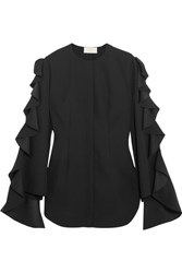 Sara Battaglia Ruffled Satin Trimmed Cady Top Black