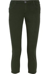 Alice Olivia Cropped Stretch Knit Pants Green