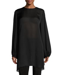 The Row Latou Long Sleeve Open Back Satin Charmeuse Top Black