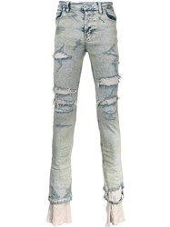 Sub Age. Bleached Distressed Jeans Blue