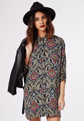 Missguided Button Up Shirt Dress Paisley Print