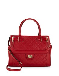Calvin Klein Quilted Leather Satchel Red