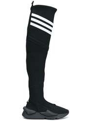 Y 3 Knee High Stretch Knit Boots Black