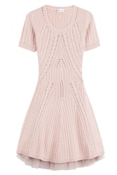 Red Valentino Short Sleeve Sweater Dress Rose