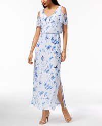 Nine West Floral Print Cold Shoulder Maxi Dress Created For Macy's Chambray Multi