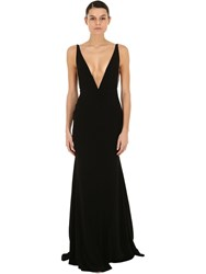 Alex Perry Deep V Neck Crepe And Satin Long Dress Black