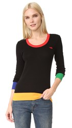 Sonia Rykiel Embroidered Lips Multicolor Sweater Black Multico
