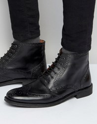 Lambretta Brogue Boots In Black Leather Black