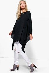 Boohoo Batwing Chiffon Tunic Top Black
