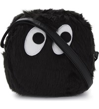 Mini Cream Monster Faux Fur Shoulder Bag Black