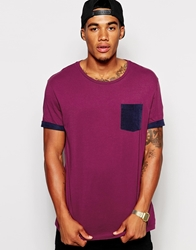 Asos T Shirt With Cord Pocket And Roll Sleeve Plumnavy