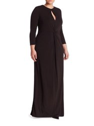 Abs Plus Size Twist Front Keyhole Gown Black