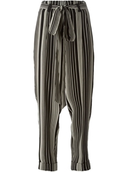Petar Petrov Stripe Print Tapered Trousers Black
