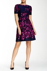 Donna Morgan Short Sleeve Floral Print Dress Blue