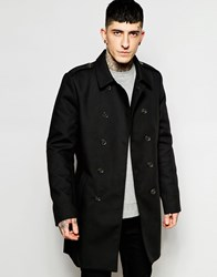 Only And Sons Double Breatsed Trench Coat Black