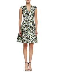 Rubin Singer Abstract Leopard Print Fit And Flare Dress Multi Leopard