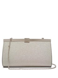 Christian Louboutin Palmette Glittered Leather Clutch Bag White Multi