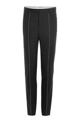 Maison Martin Margiela Wool Mohair Trousers With Contrast Stitch Black